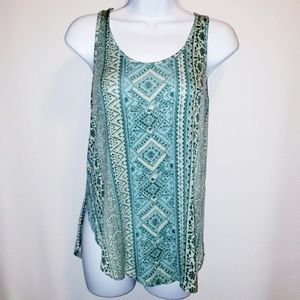 Hollister Tank Top Cut Out Back Green Pattern